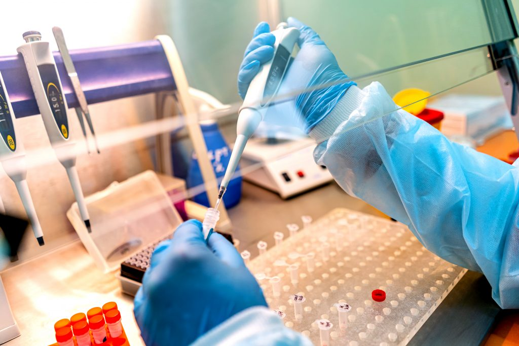 genetic testing in a lab with DNA